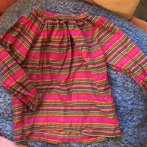 Colorful striped off the shoulder long sleeve top